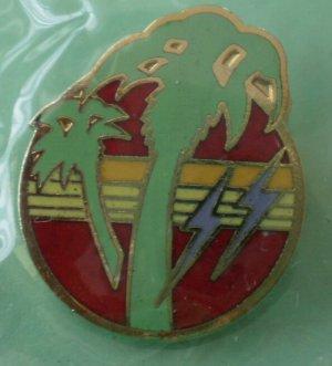 Palm Trees Lightning Pin Goldtone Metal NOS