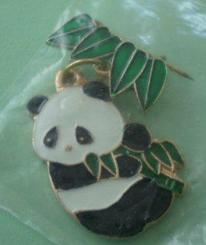 Panda Pin CWCA Goldtone Metal NOS Bamboo Bear