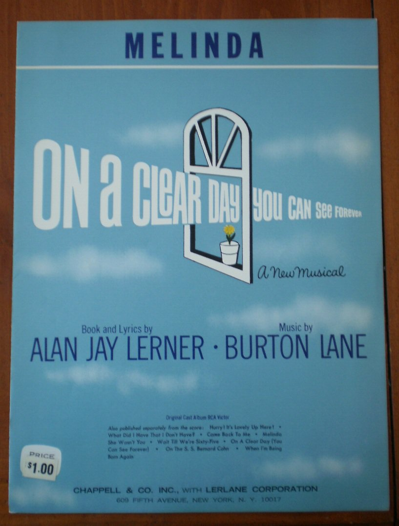 Melinda Sheet Music On A Clear Day You Can See Forever Alan Jay Lerner Burton Lane