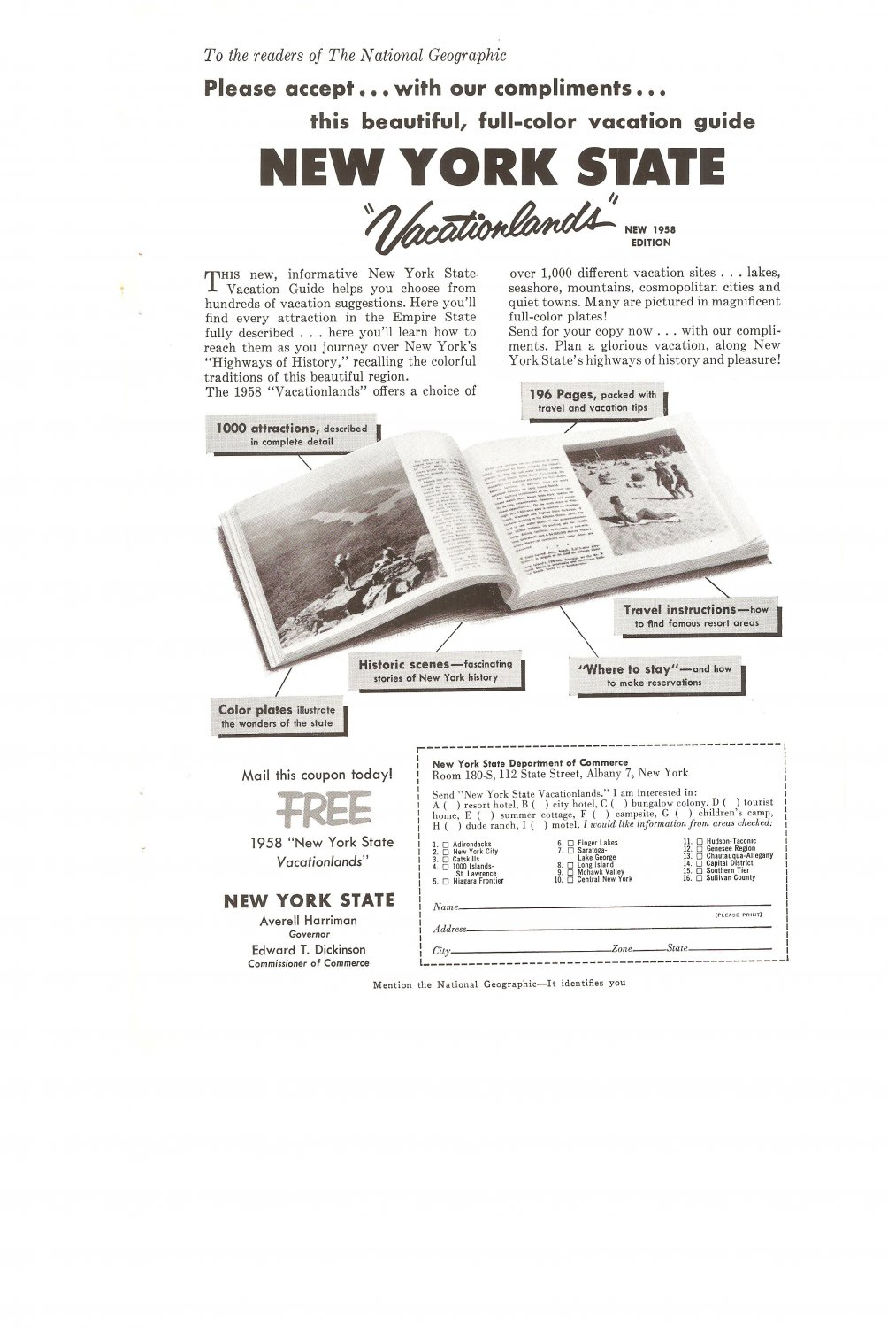 Vintage Ad New York State Vacationlands 1958