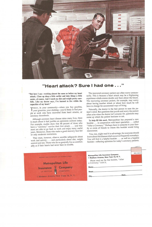 Vintage Ad Metropolitan Life Insurance 1958 Heart Attack
