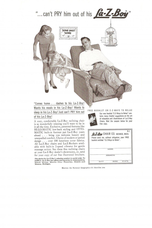 Vintage Ad La Z Boy 1958 Can't pry him out