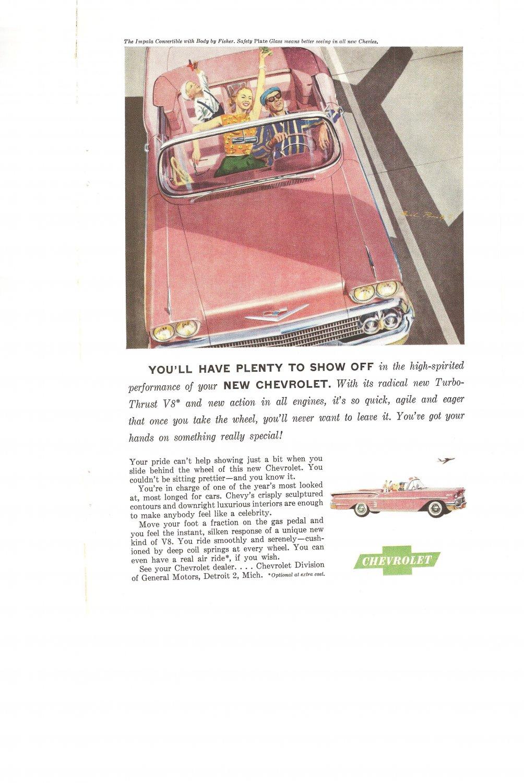 Vintage Ad Chevrolet Impala Convertible 1958 Turbo Thrust V8 Chevies