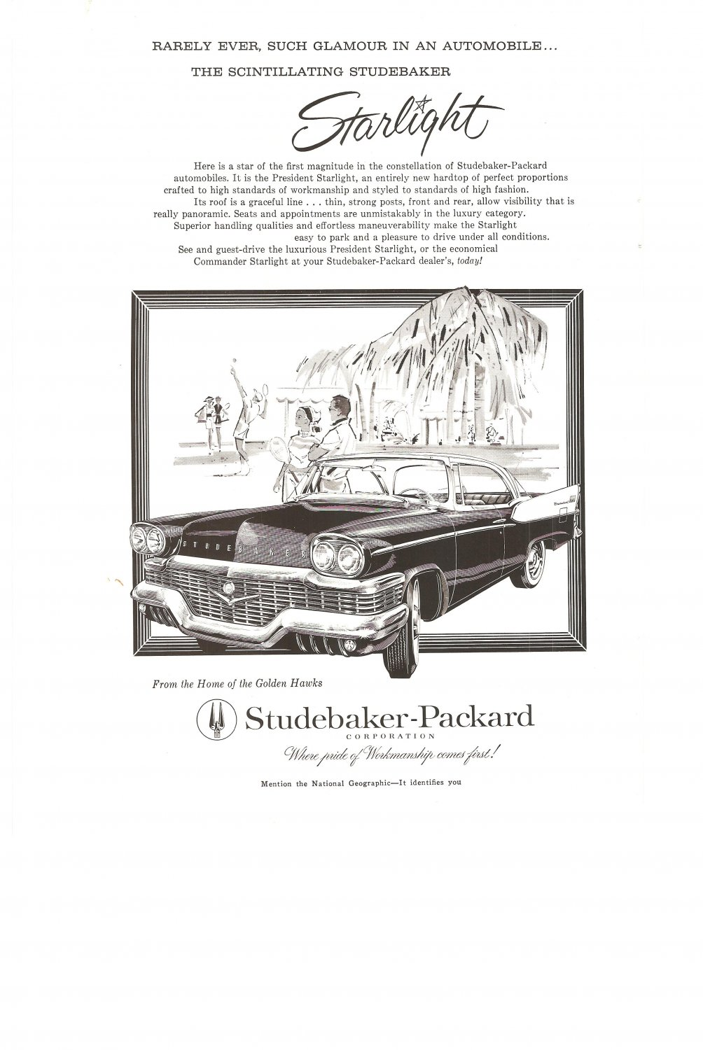 Vintage Ad Studebaker Packard Starlight 1958 Home of the Golden Hawks