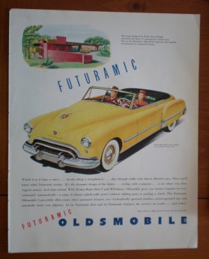 Vintage Ad Futuramic Oldsmobile 1948 Yellow Frank Lloyd Wright architecture