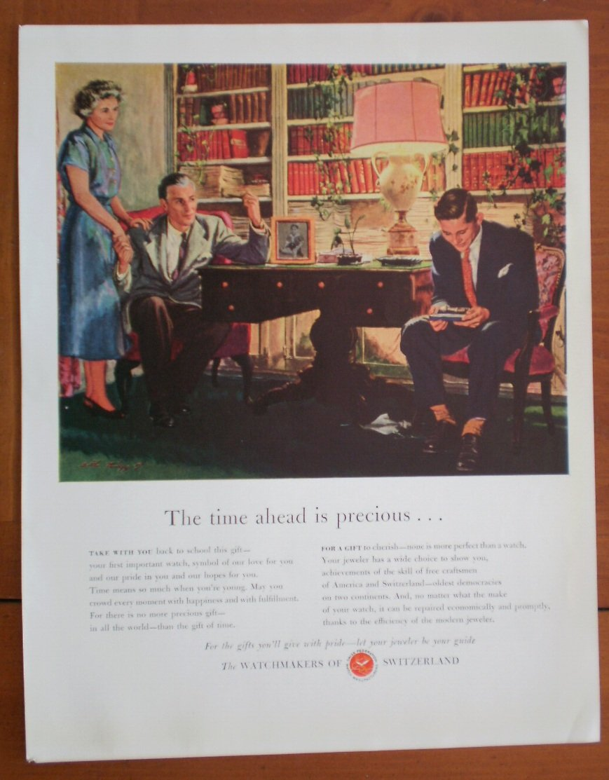 Vintage Ad Switzerland Watchmakers 1948 Time Ahead is Precious