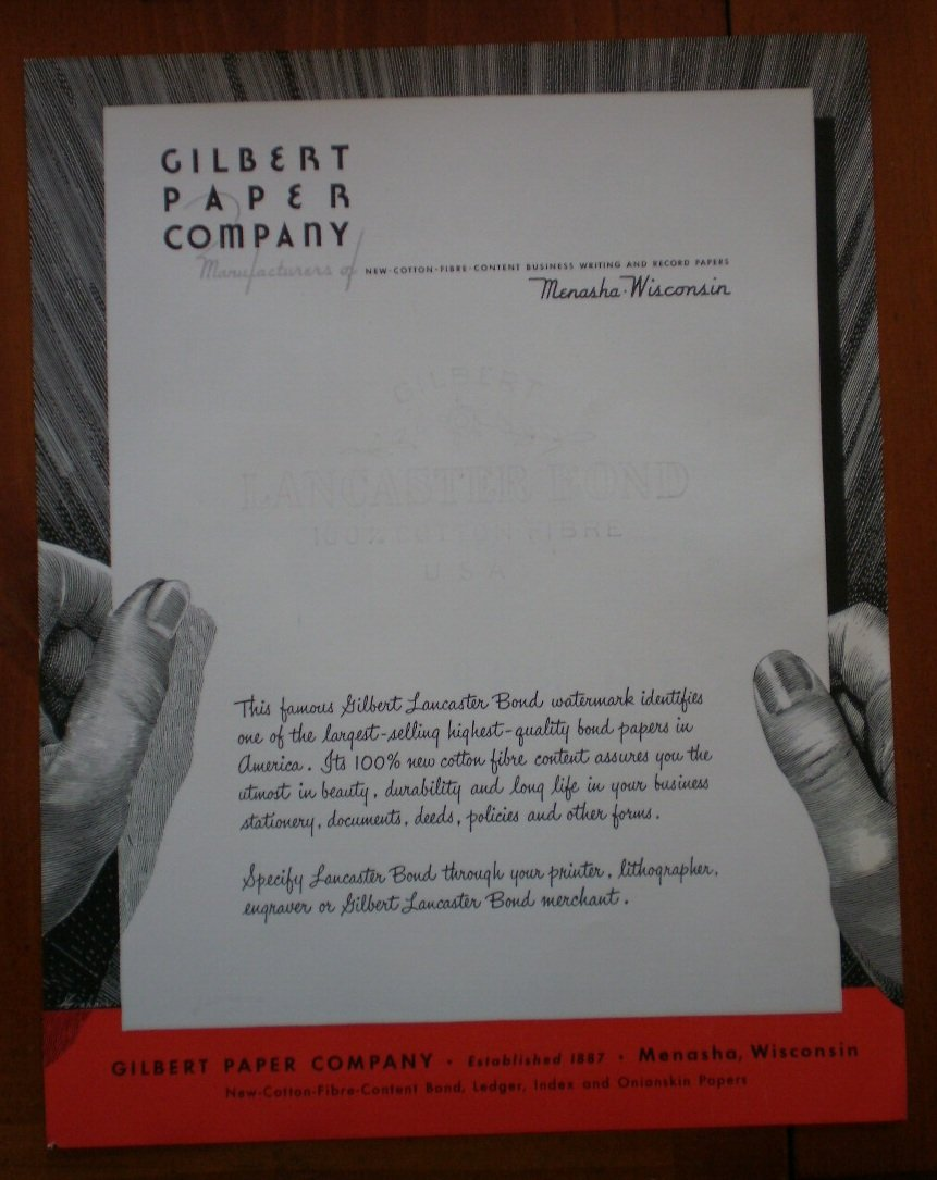 Vintage Ad Gilbert Paper Company 1948 Lancaster Bond
