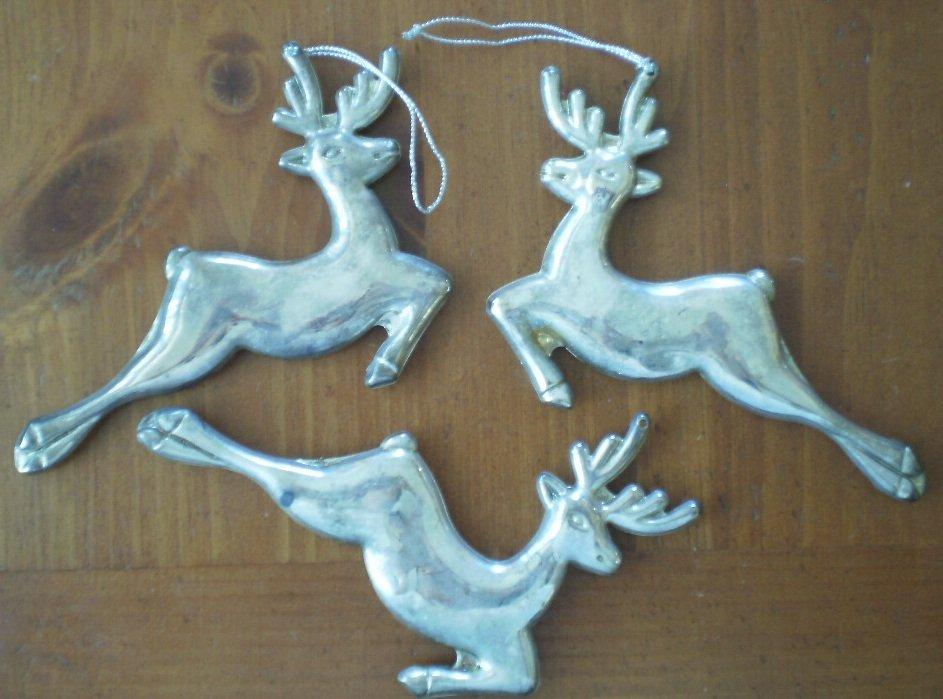 Reindeer Christmas Ornament Silvertone Metal Lot 3