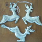Reindeer Christmas Ornament Silvertone Metal Lot 3