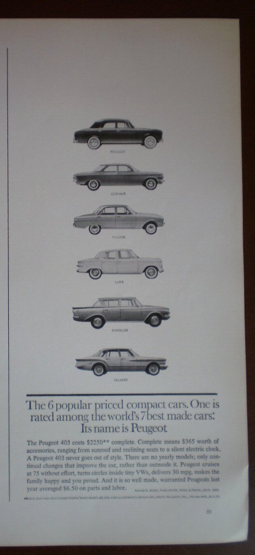 Vintage Ad Peugeot 403 1961 Compact Car Best Made