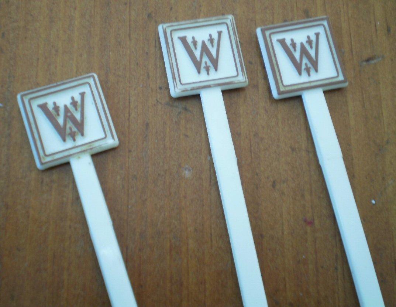 Vintage Swizzle Sticks The Whitehall Hotel Chicago Lot 3 White Plastic