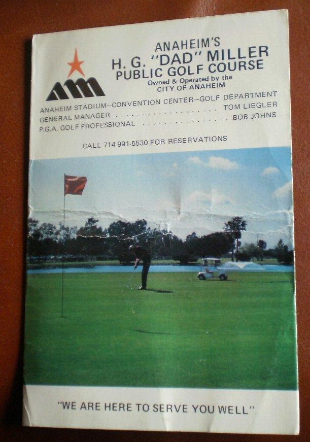 Vintage Golf Scorecard Anaheim H G Dad Miller Public Golf Course