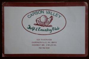 Vintage Golf Scorecard Carson Valley Golf Country Club Gardnerville NV