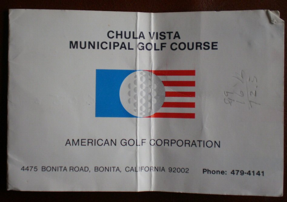 Vintage Golf Scorecard Chula Vista Municipal Golf Course Bonita CA
