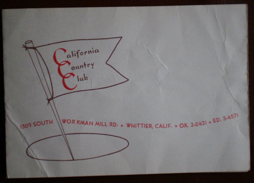 Vintage Golf Scorecard California Country Club Whittier CA