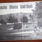 Vintage Golf Scorecard Rancho Maria Golf Club CA Santa Maria