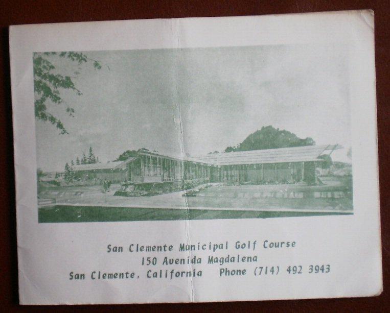 Vintage Golf Scorecard San Clemente Municipal Golf Course California