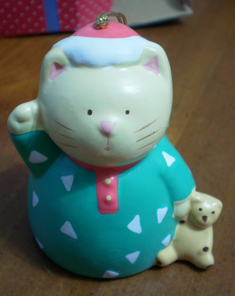 Cat Bell Ceramic Ornament Russ Berrie 15726 Lovable Holiday Treasures