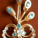Vintage Brooch Pin Blue Clear Rhinestones Goldtone Metal Broach