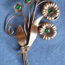 Vintage Brooch Pin Copper Green Rhinestones Floral Bouquet Spray