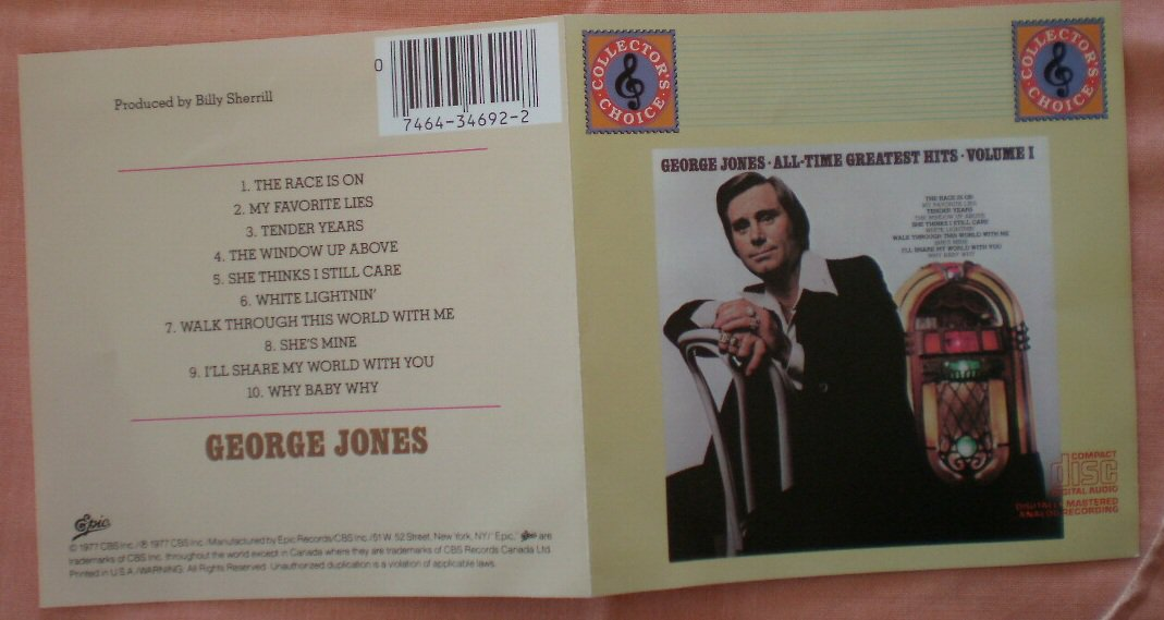 Insert Cover for George Jones All-Time Greatest Hits Vol I No CD