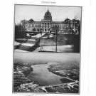 Pennsylvania Capitol Susquehanna Plate Print 1936 Book 2-page sheet