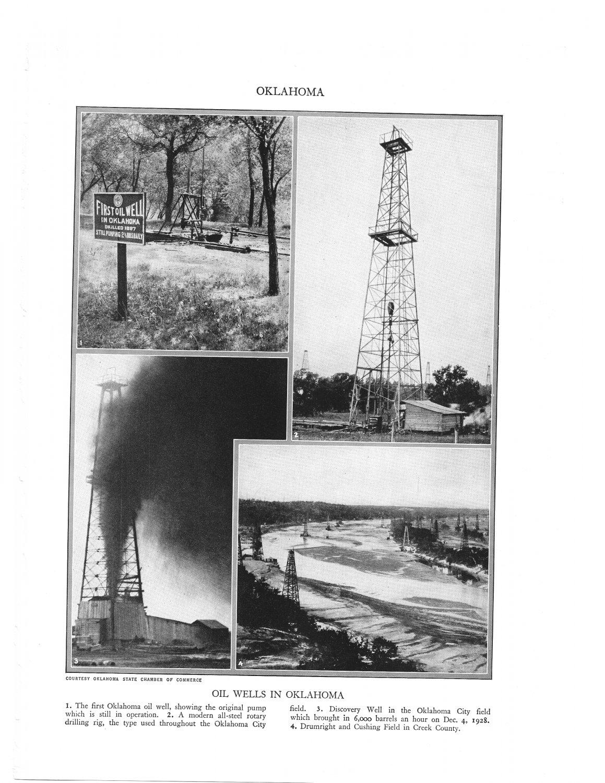 Oklahoma Oil Wells Plate Print 1936 Book
