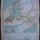 Canal Zone Map Rand McNally Popular Plate Print 1936 Book