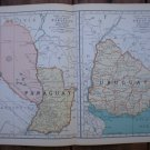 Paraguay Uruguay Map Rand McNally Popular Plate Print 1936 Book