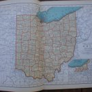 Ohio Map Rand McNally Popular Plate Print 1936 Book