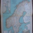 Norway Sweden Map Rand McNally Popular Plate Print 1936 Book