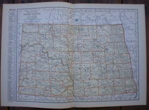 North Dakota Map Rand McNally Popular Plate Print 1936 Book