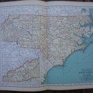 North Carolina Map Rand McNally Popular Plate Print 1936 Book