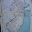 New Jersey Map Rand McNally Popular Plate Print 1936 Book