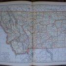 Montana Map Rand McNally Popular Plate Print 1936 Book