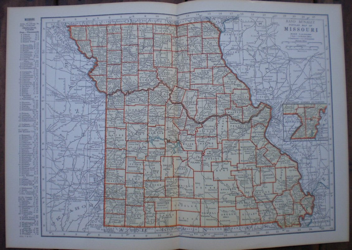 Missouri Map Rand McNally Popular Plate Print 1936 Book