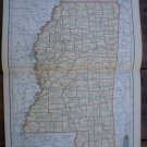 Mississippi Map Rand McNally Popular Plate Print 1936 Book