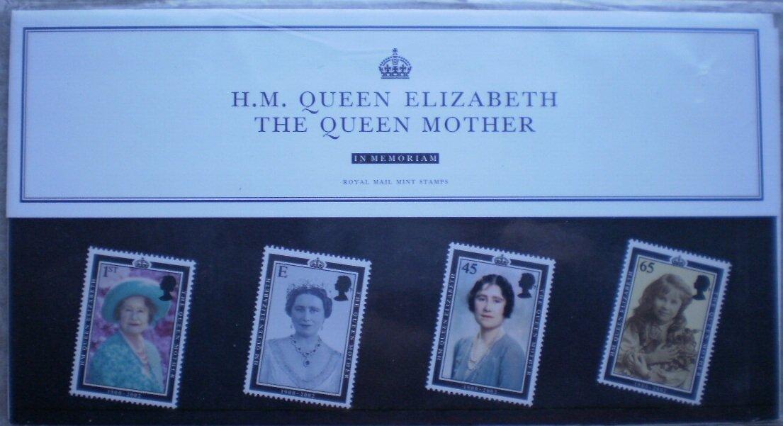 HM Queen Elizabeth Queen Mother In Memoriam GB Royal Mail Mint Stamps M08 2002