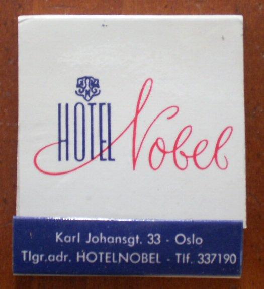 Vintage Matchbook Hotel Nobel Oslo Norway Matches
