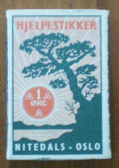 Vintage Matchbook Hjelpestikker Nitedals Oslo Norway Green Box Matches