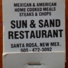 Vintage Matchbook Sun & Sand Restaurant Santa Rosa New Mexico Matches