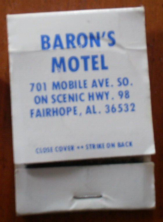 Vintage Matchbook Baron Motel Fairhope AL Matches