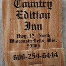 Vintage Matchbook Country Edition Inn Wisconsin Bells Matches