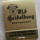 Vintage Matchbook Gold Old Heidelberg Restaurant Hoppe's Van Nuys CA Matches
