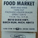 Vintage Matchbook Janni Food Market Birch Run Michigan Matches
