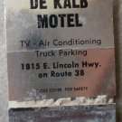 Vintage Matchbook De Kalb Motel Silver Lincoln Highway Route 38 Illinois Matches