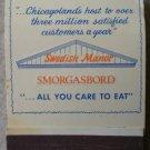 Vintage Matchbook Nordic Steak Pub Swedish Manor Smorgasbord Matches