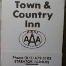 Vintage Matchbook Town Country Inn Streator Illinois Green Matches
