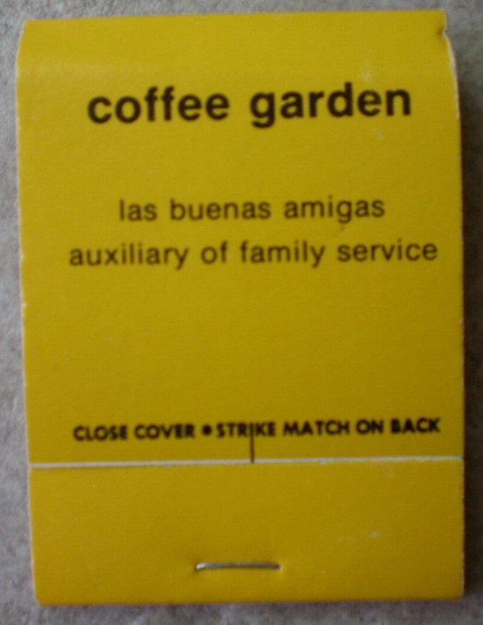 Vintage Matchbook Coffee Garden Yellow San Juan Capistrano California Matches