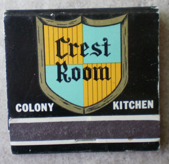 Vintage Matchbook Crest Room Colony Kitchen California Matches